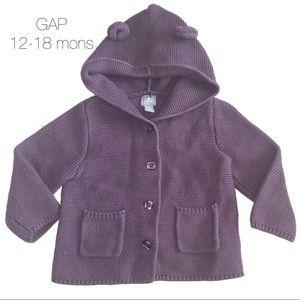 Baby Gap Purple Knit Bear Cardigan 12-18 mons